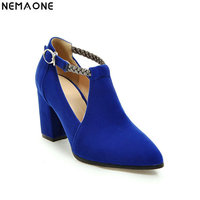 NEMAONE Women Pumps Sexy High Heels Shoes ladies ankle strap Point Toe Party Wedding Pump Black red blue Woman shoes