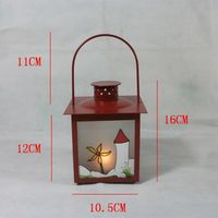Red Iron Hanging Candle Holder Glass Door Pattern Metal Candlestick Christmas Holiday Candles Lantern Home Wedding