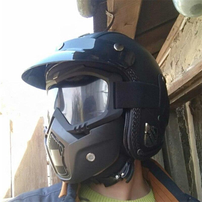 NEWEST Black Adult Open Face Half PU Leather Helmet Harley Moto Motorcycle Helmet vintage Motorcycle Motorbike