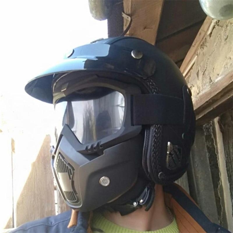 DATE Noir Adulte Open Face Demi PU En Cuir Casque Harley Moto Moto Casque vintage Moto Moto Vespa avec masque