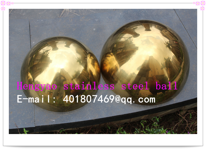 250 мм диаметр, 201 нержавеющая сталь Золото полушария, полые полушария, метоп украшение, покрытие Titanium