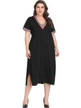 Casual Summer Dress 2019 Women Plus Size 5XL Maxi Dress Sexy Low Cut Loose Black Dress Elegant Slip Vestido Wear To Work Dress недорого