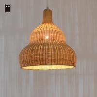30cm Bamboo Wicker Rattan Gourd Pendant Light Fixture Craft Nordic Asian Country Hanging Ceiling Lamp Designer E27 Bulb Hallway