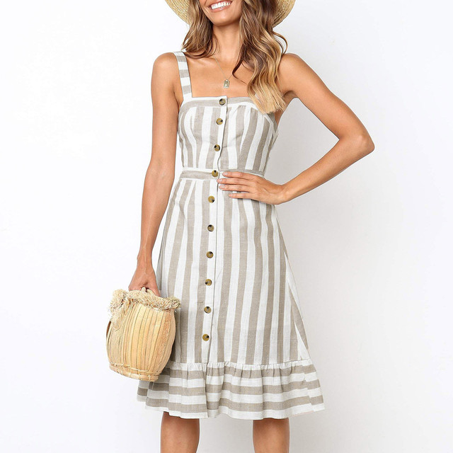 Fashion Womens Robe Longue Button Camis Backless Vestidos De Verano Hollow Out Bow Bandage Stripe knee-length Dress