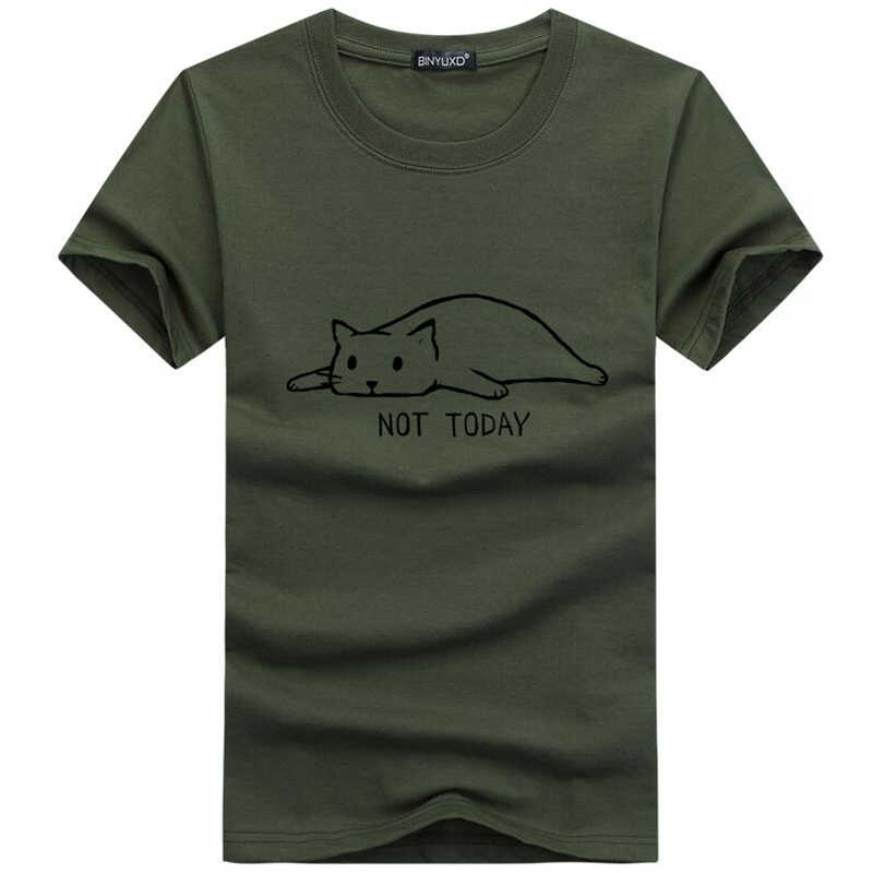 2019 Fashion Not Today Hip hop Men's T-Shirt Short Sleeve Around The Neck Funny Hipster Cat Lazy Printed T-Shirts tees 5XL