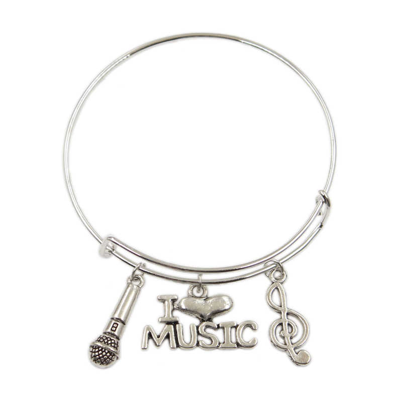New Silver Metal Women Vintage microphone I love music headset Charms Accessory Men Bangles Jewelry Gifts