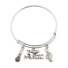 Men Bangles Pendants-Accessory Jewelry Gifts Metal Women Love Headset Microphone Music