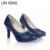 LIN REY Bombas de Las Mujeres de Moda Plataforma de Tacón Medio Zapatos de La Pu cuero Resbalón En Los Zapatos de Punta Redonda de Color Sólido Partido de La Boda zapatos