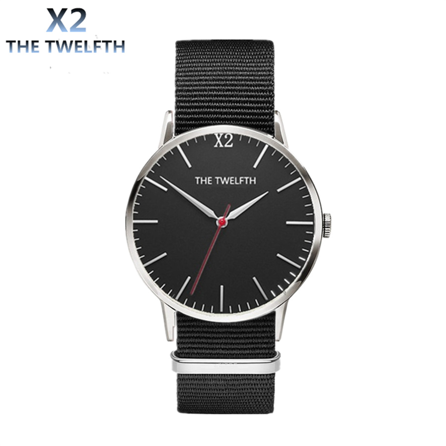 2016 New arrival black nylon watch X2 THE TWELFTH Brand For Men and Women Fashion quartz watch Waterproof Wristwatch Hot reloj 2016 aladdin and the magic lamp watch the young men and women fashion quartz pocket watch table birthday gift ds262