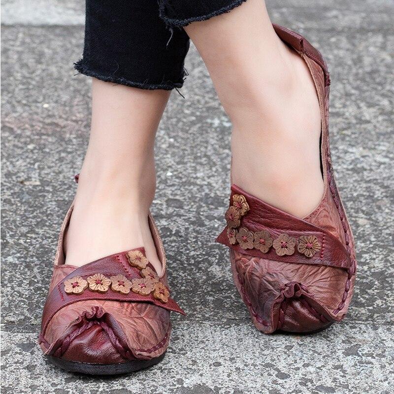 Loisirs 1 Femmes red D'été Appartements En Plat Chaussures Véritable Gray Fleurs La T97256 Et Artdiya Main Rétro À Cuir D'origine Nouveau Printemps mvnO0w8Ny