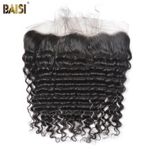 BAISI Brazilian Virgin Hair Closure Deep Wave Lace Frontal with Baby Hair Bleached Knots 100% human hair with free shipping(China)