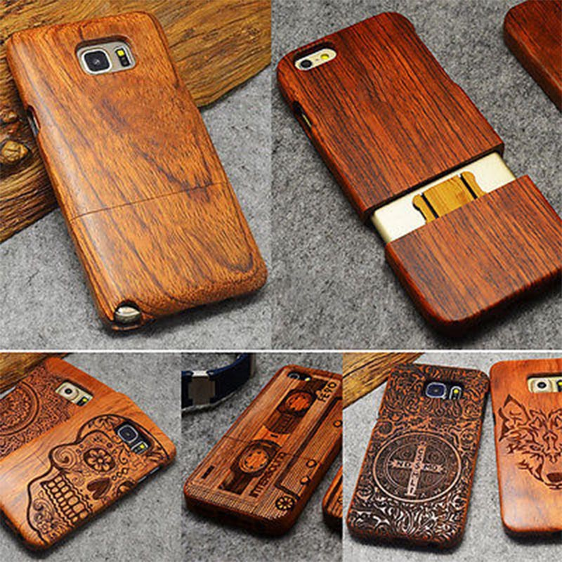 Caja de madera para iPhone XS Max XR 8X7 6 6 S 8 Plus 5 5S SE caso para Samsung Galaxy S8 S5 S6 S7 borde s9 Plus Nota 9 8 3 4 5