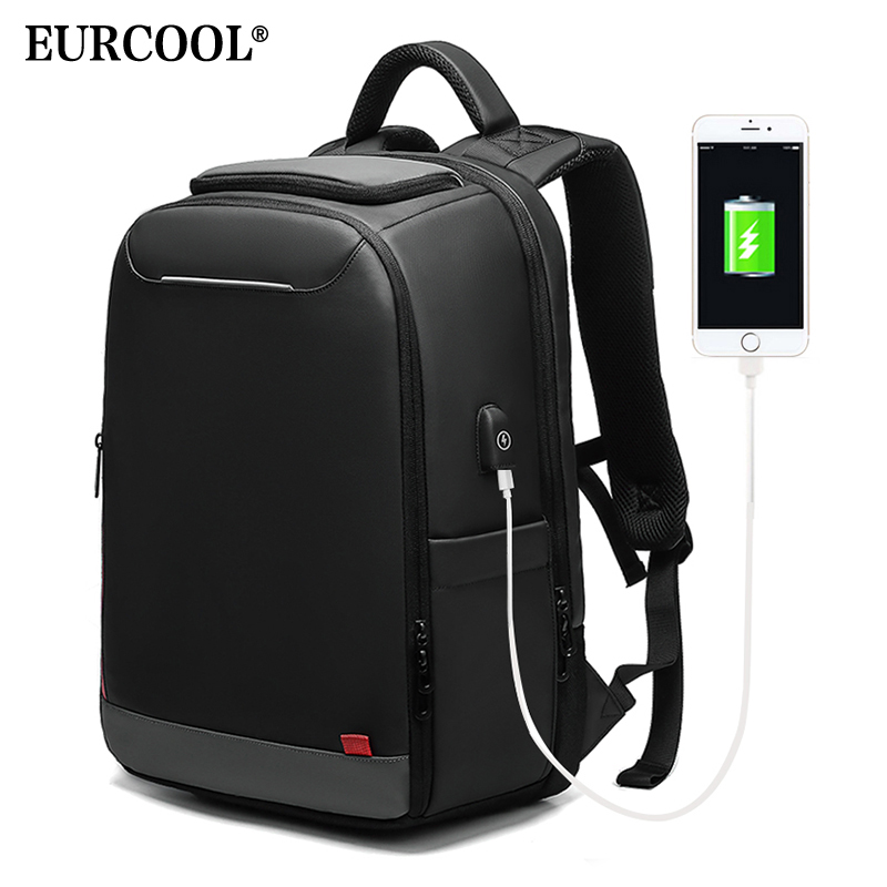EURCOOL 15,6 дюймов ноутбук рюкзак для подростков Модные мужские Mochila зарядка через usb водоотталкивающий рюкзаки для путешествий и отдыха n0004