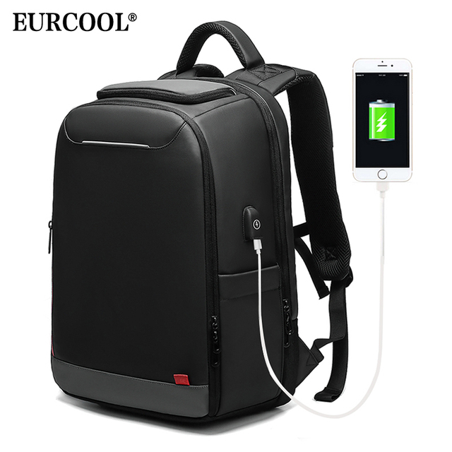EURCOOL 15.6 inch Laptop Backpack For Teenage Fashion Male Mochila USB Charging Water Repellent Leisure Travel Backpacks n0004