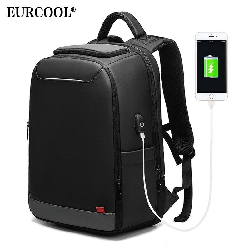 EURCOOL 15.6 pouces sac à dos pour ordinateur portable pour adolescent mode mâle Mochila USB charge hydrofuge loisirs voyage sacs à dos n0004