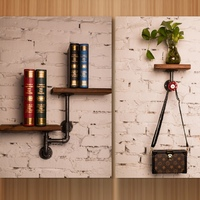 Find Joy Wooden Industrial Pipe Wall Shelves Creative Home Decoration Vintage Storage Holders Racks for Living Room FJ040304