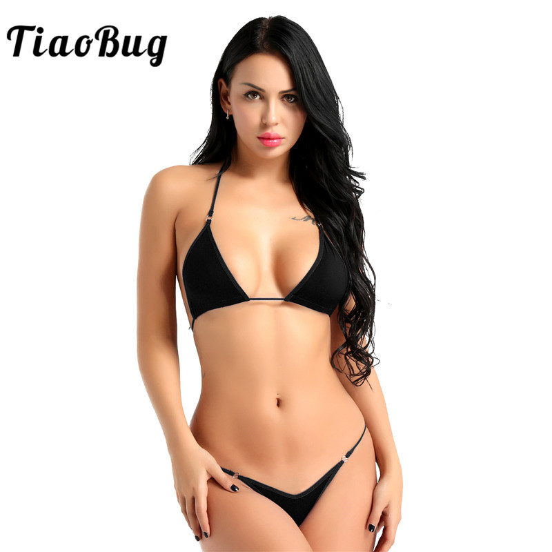 TiaoBug Women Sexy Lingerie Set Halter Mini Micro Bikini Bra Tops with G Strings Thong Briefs Tanga Underwear Swimsuit Beachwear ヘッドスパ 用 シャンプー 台
