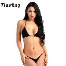 TiaoBug Women Sexy Lingerie Set Halter Mini Micro Bikini Bra Tops with G Strings Thong Briefs Tanga Underwear Swimsuit Beachwear