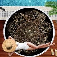 Ultra fine Fiber Bohemian Ethnic large Circular fringe beach scarf tapestry yoga mat Beach towels Rugrats Bronzing turtle CL1215