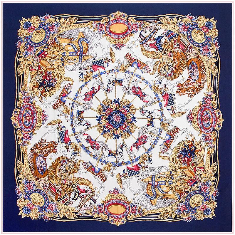 Moda sarga de seda de las mujeres bufanda 130 * 130 cm Euro Real carrusel flores imprimir bufandas cuadradas envuelve marca de lujo de regalo gran mantón