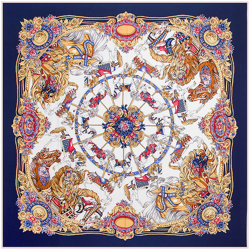 Fashion Twill Silk Women   Scarf   130*130cm Euro Royal Carousel Flowers Print Square   Scarves     Wraps   Brand Luxury Gift Large Shawl