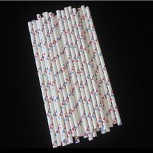 1000pcs Environmentally friendly kraft paper straws Degradable Disposable Small bunting Decorative party supplies