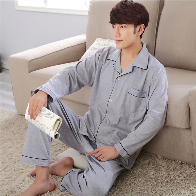 2017 summer thin section men's pajamas male cotton long-sleeved middle-aged spring and autumn cotton home service pajamas male