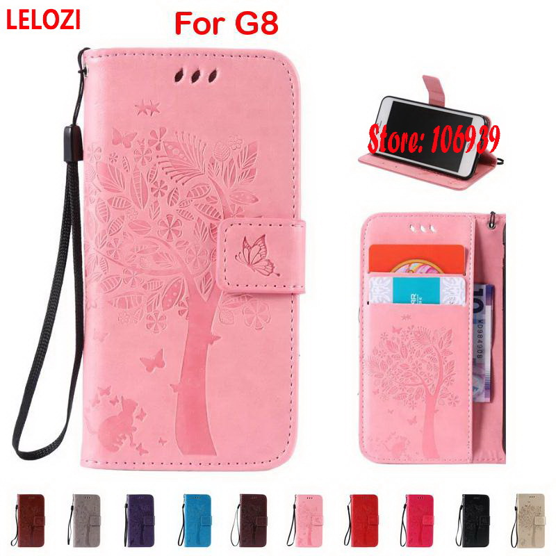 LELOZI Tree Star Flower Cat Butterfly PU Leather Wallet Lady Case capinha For Huawei G8  ...