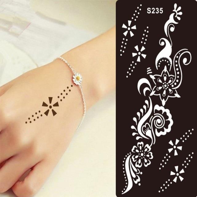 1 шт. хна татуировки трафарет для блеск шаблон временные черные менди индийский трафареты для живописи хна комплект