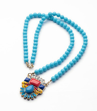 Canada Pop Sunshine Charm Gold Color Plant Blue Bead Long Necklace(China)