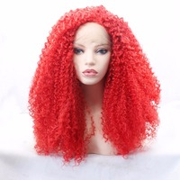 MRWIG free part afro kinky curly red natural looking synthetic glueless front lace wig 26in for african american woman