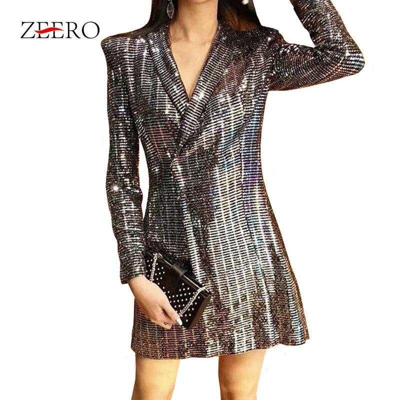 2019 Fashion Sexy Luxury Sequin Ladies Outwear Coat Female Elegant   Jacket   Coat Women   Basic     Jackets   Long Slim Sequin Coats