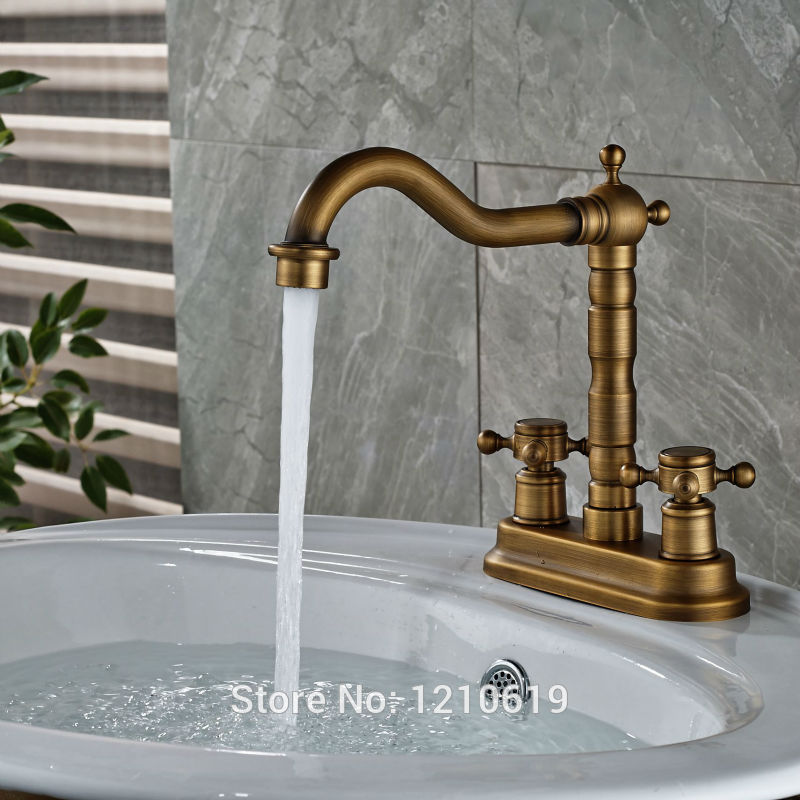 Uythner Newly Antique Brass Bathroom Sink Mixer Tap Dual Holes Basin Faucet Cold&Hot Water Faucet Single Handle antique brass three holes bathroom sink basin faucet mixer tap dual handle