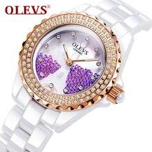 OLEVS 2017 New Dress Quartz Watch For Women Eiffel Tower Dial Luminous Hands Ceramic Bracelet Rhinestone Ladies Wristwatch 142