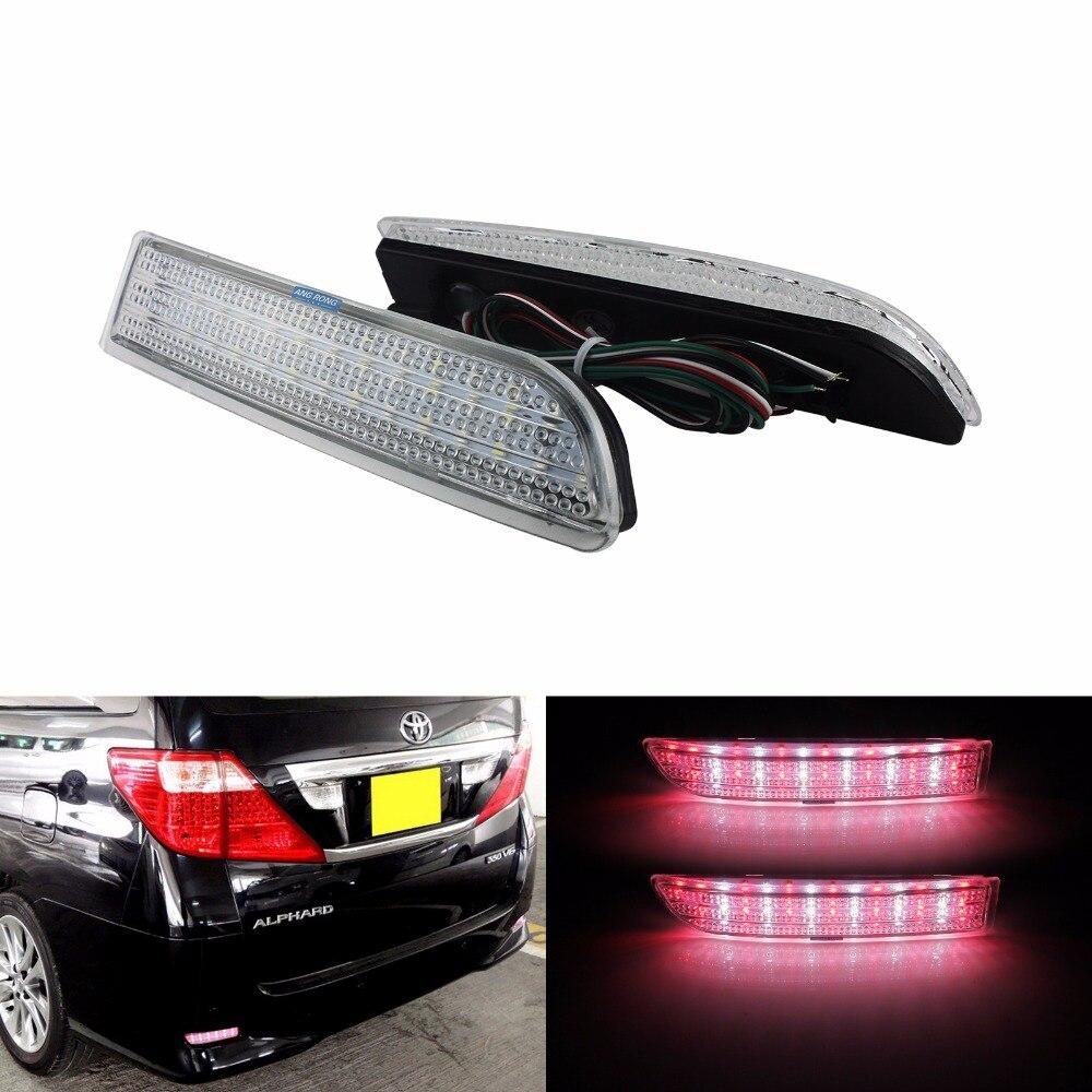 FOR Toyota RAV4 Clear Lens LED Rear Bumper Reflector Backup Brake Stop Light Fog