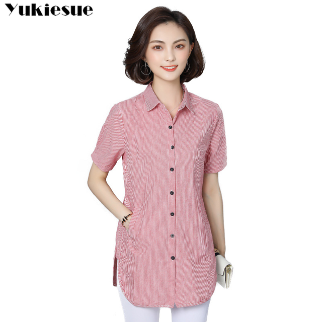 women's blouse shirt fashion woman blouses 2019 short sleeve striped womens clothing tops and blouses ladies tops Plus size 5xl 1