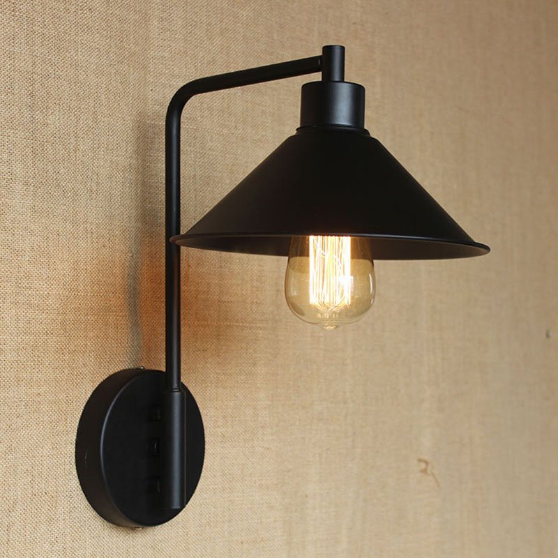 Loft Retro Vintage industrail metal wall lamp for hallway / bar counter / balcony / bedroom / livingroom E27