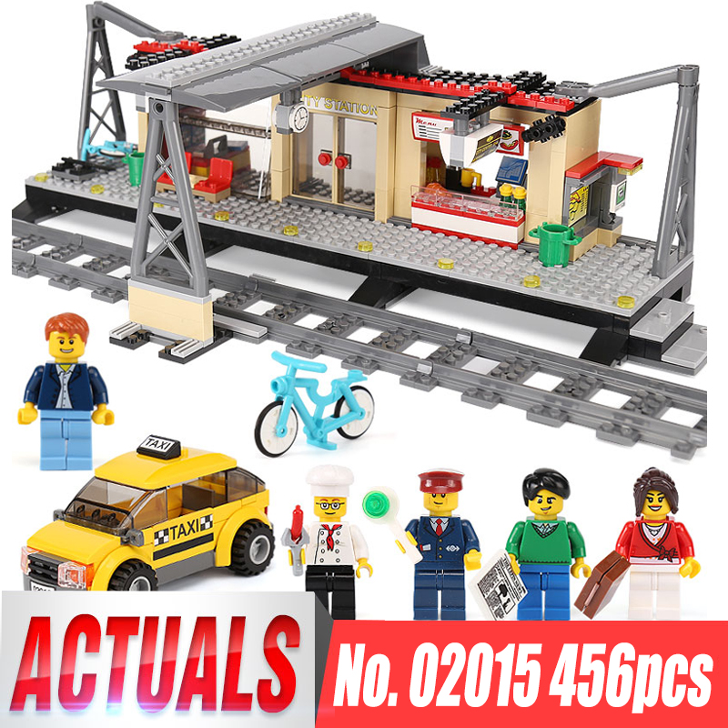 IN STOCK Lepin 02015 City Trains Series legoing 60050 Train Station with Rail track Taxi Building Block Set Kids Model Brick Toy