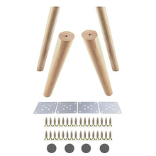 Oak Wood 300x48x30mm Height Reliable Inclined Furniture Leg with Iron Plate Sofa Table Cupboard Feet Set of 4