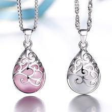 Женское ожерелье с подвеской из серебра 100% пробы опалом