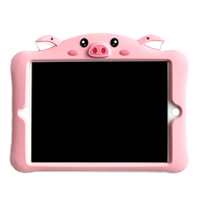 For iPad Cute pig Case for Kids,3D Cartoon 360-Rotating Stand Shockproof Soft Cover with Handle