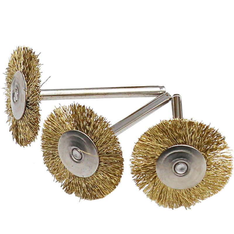 """Accessoire de brosse métallique en laiton, 10 pièces/ensemble convient pour outil rotatif Dremel, 1/8 """"(3mm) tige"""