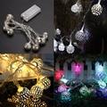 10 LED Blanco Cálido Colorido Bola de Filigrana de Metal Cadena de Hadas de Luz Para La Boda de Navidad de Navidad Del Partido de Jardín Decoración de la Secuencia del Led