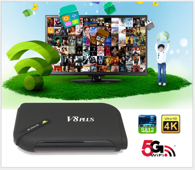 2016 Android TV Box V8 Plus TV Receiver Amlogic S812 2G/8G Quad Core HD Support HDMI 4K*2K XBMC Wifi V8+ quad core koid xbmc android tv box amlogic s812 2g 16g 2 4g 5g dual mali450 gpu 4k hdmi bluetooth dolby true hd midia player