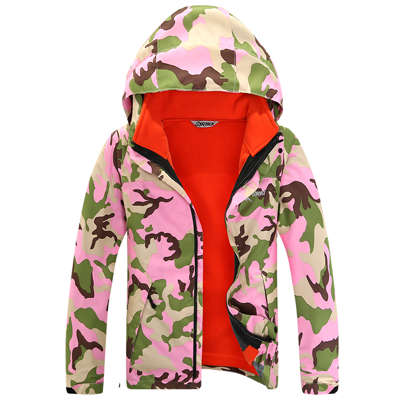 ФОТО Outdoor winter wear camouflage ski-wear, boys and girls the children Student a suit Two-piece camping hiking ski jacket