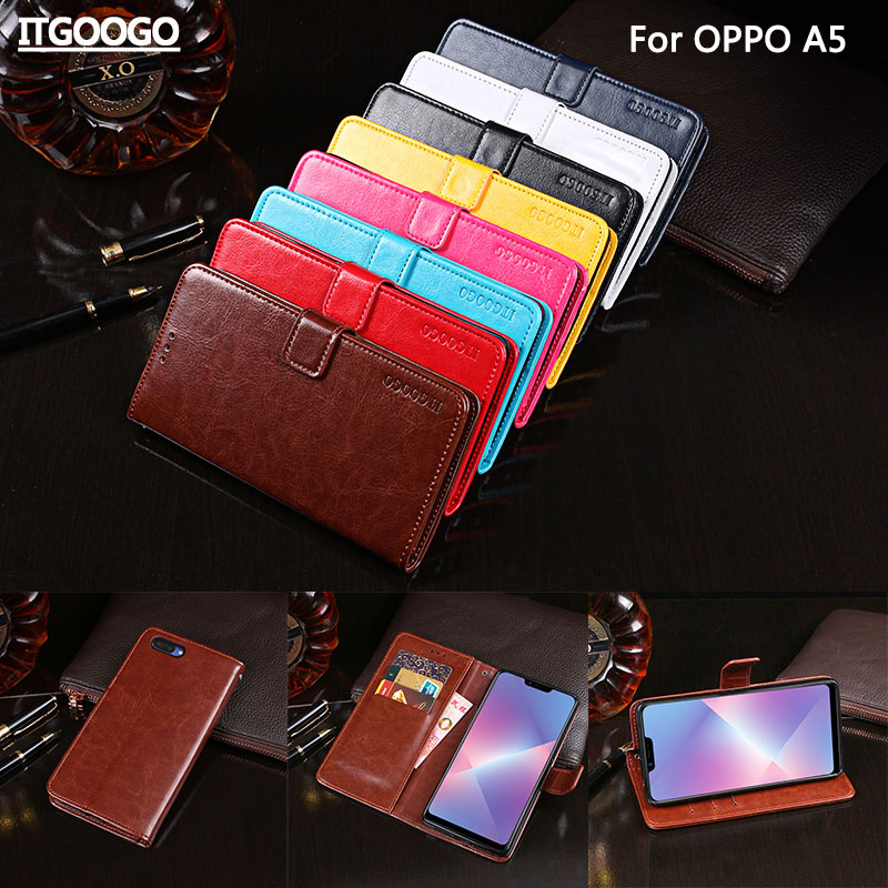OPPO A5 Case Cover Luxury Leather Flip Case For OPPO A5 Protective Phone Case Back Cover Wallet Case