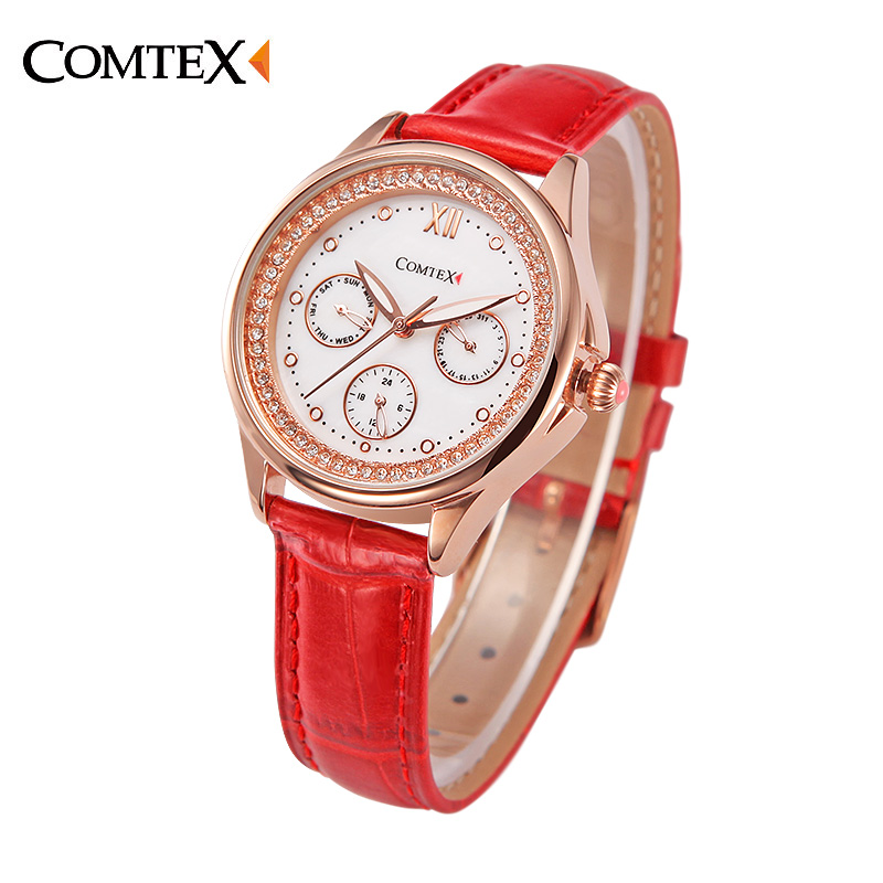 COMTEX Watch Women Wristwatch Casual Fashion Female Crystal Red Leather Watch Luxury Brand Quartz Watch Bracelet for Girl Clock