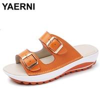 YAERNI Women Flat Sandals Shoes Leisure Slippers Slip On Round Toe Comfortable Sandals Flip Flops Female