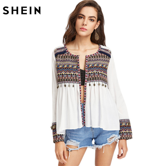 SHEIN Boho Blouses for Women Embroidered Yoke and Cuff Coin Fringe Trim Blouse  Women Long Sleeve