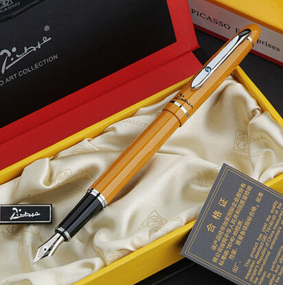 orange Picasso 608 Fountain Pen business gift pen free shipping school and office Writing Supplies send teacher student friend real picasso 926 fountain pen business gift pens free shipping school and office writing supplies send teacher father friend 002
